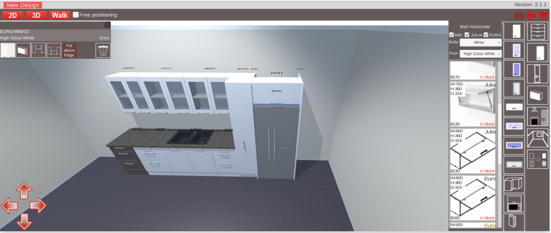 Kitchen 3d Planner Put Cabinet Above Fridge