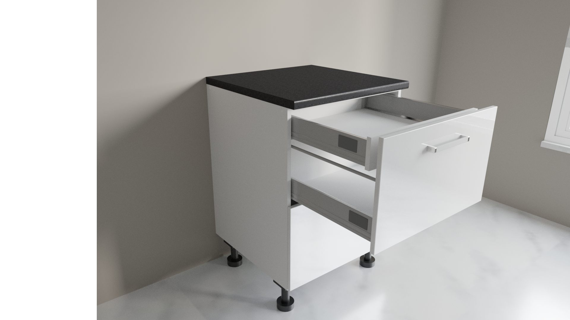 600mm 2 Drawer Base Cabinet with Top Internal Drawer Example Two