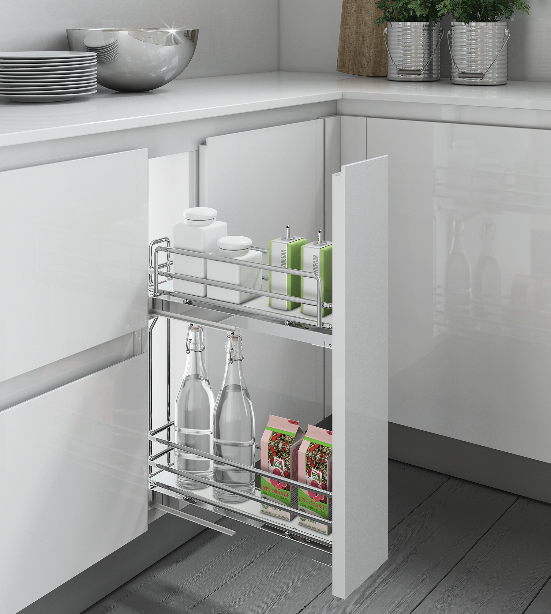 Inoxa Pull Out Basket Insert For 200mm Wide Base Cabinet Kitchen