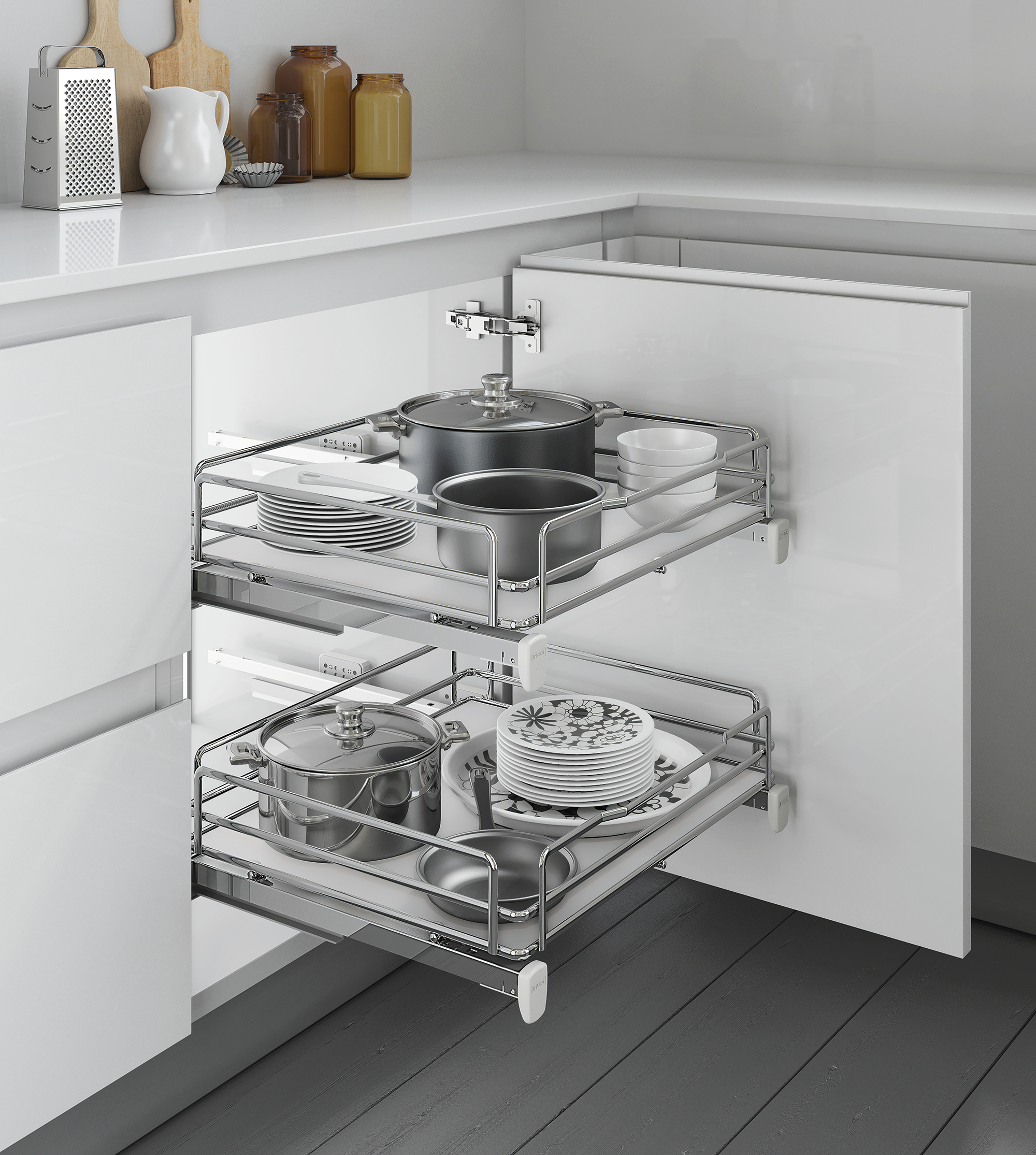 Inoxa Pull Out Basket For 400mm Wide Base Cabinet Kitchen
