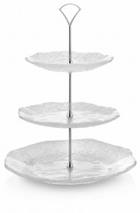 DIAMANTE '3 TIER CAKESTAND H.35 CLEAR WITH METAL STAND