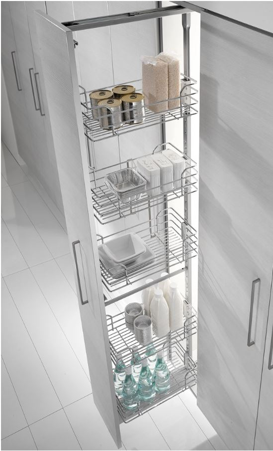 Venice 300mm Pull Out Pantry With Inoxa Chrome Wire Baskets