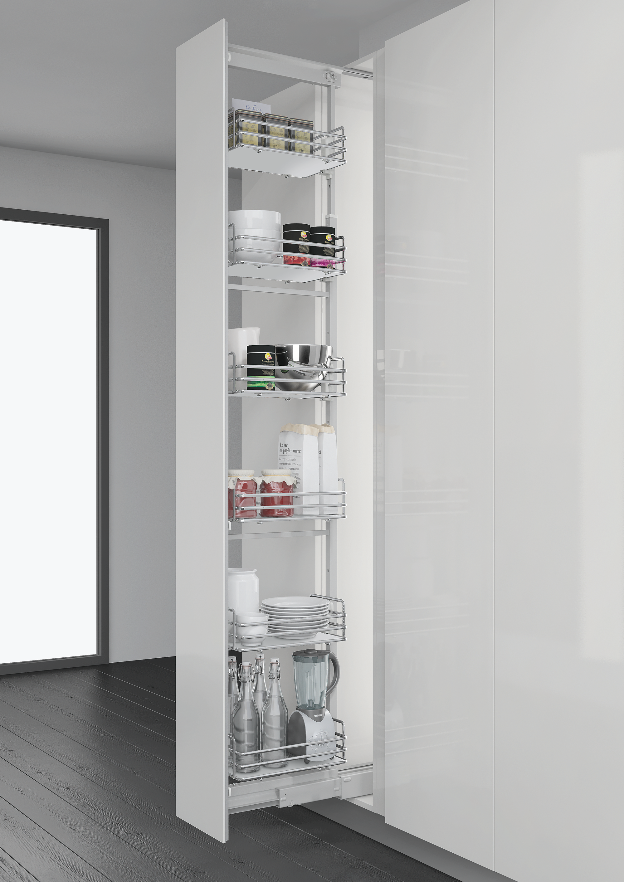 Inoxa Pull Out Pantry Insert 855 AE for Kitchen