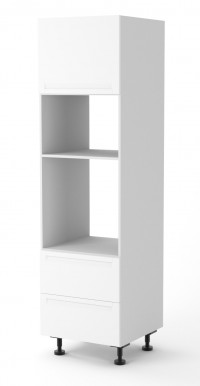 Berlin White Matte Oven Tower Cabinet 600mm Two Drawers