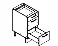Body Diagram for Base Three Drawer Cabinet