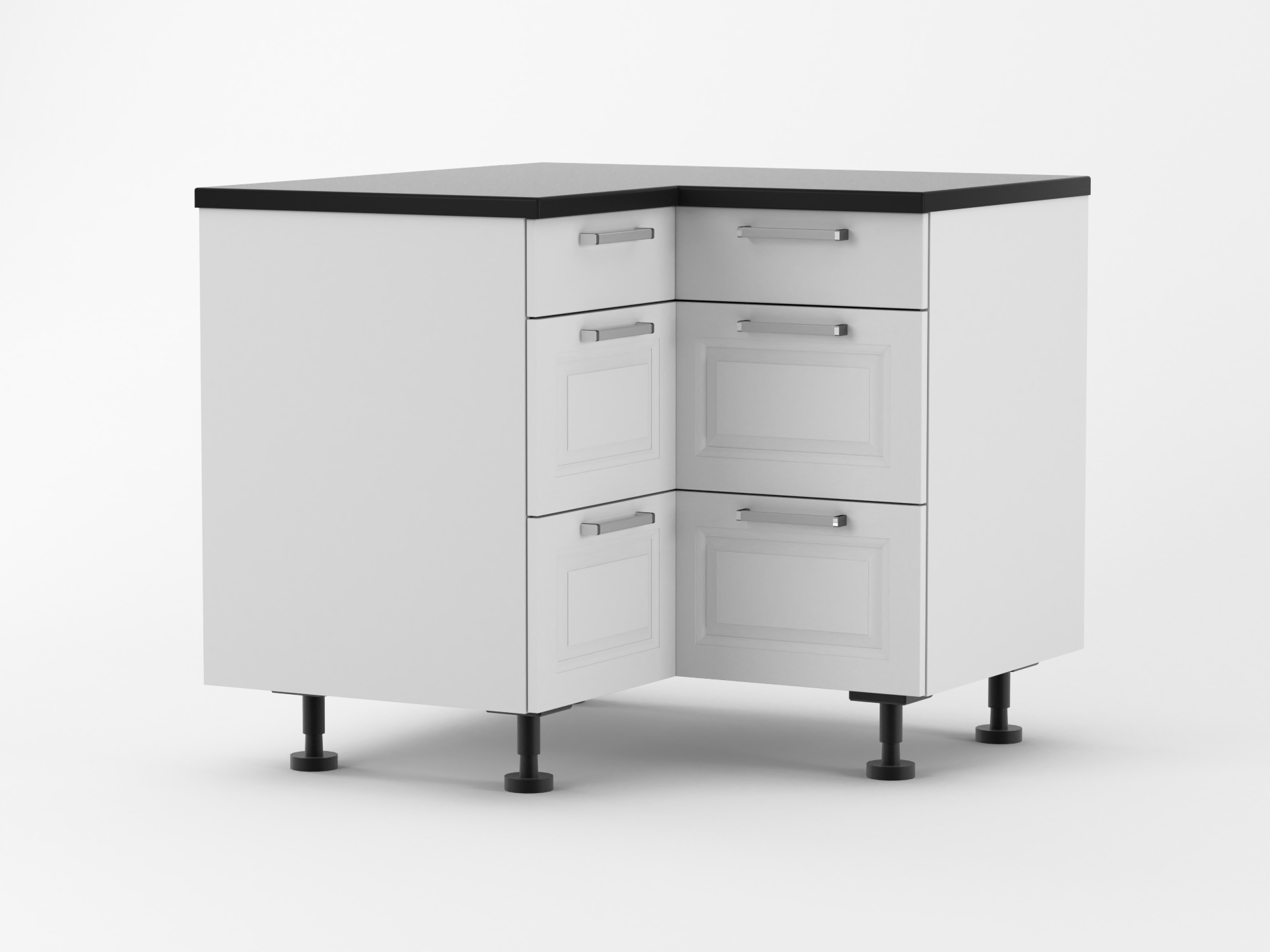 French - 1000mm by 1000mm wide Three Drawer Corner Base ...