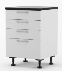 Milan - 600mm wide Four Drawer Base Cabinet - with Blum Runners