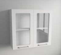 Clear Glass Vertical Double Door Wall Cabinet in White Matte