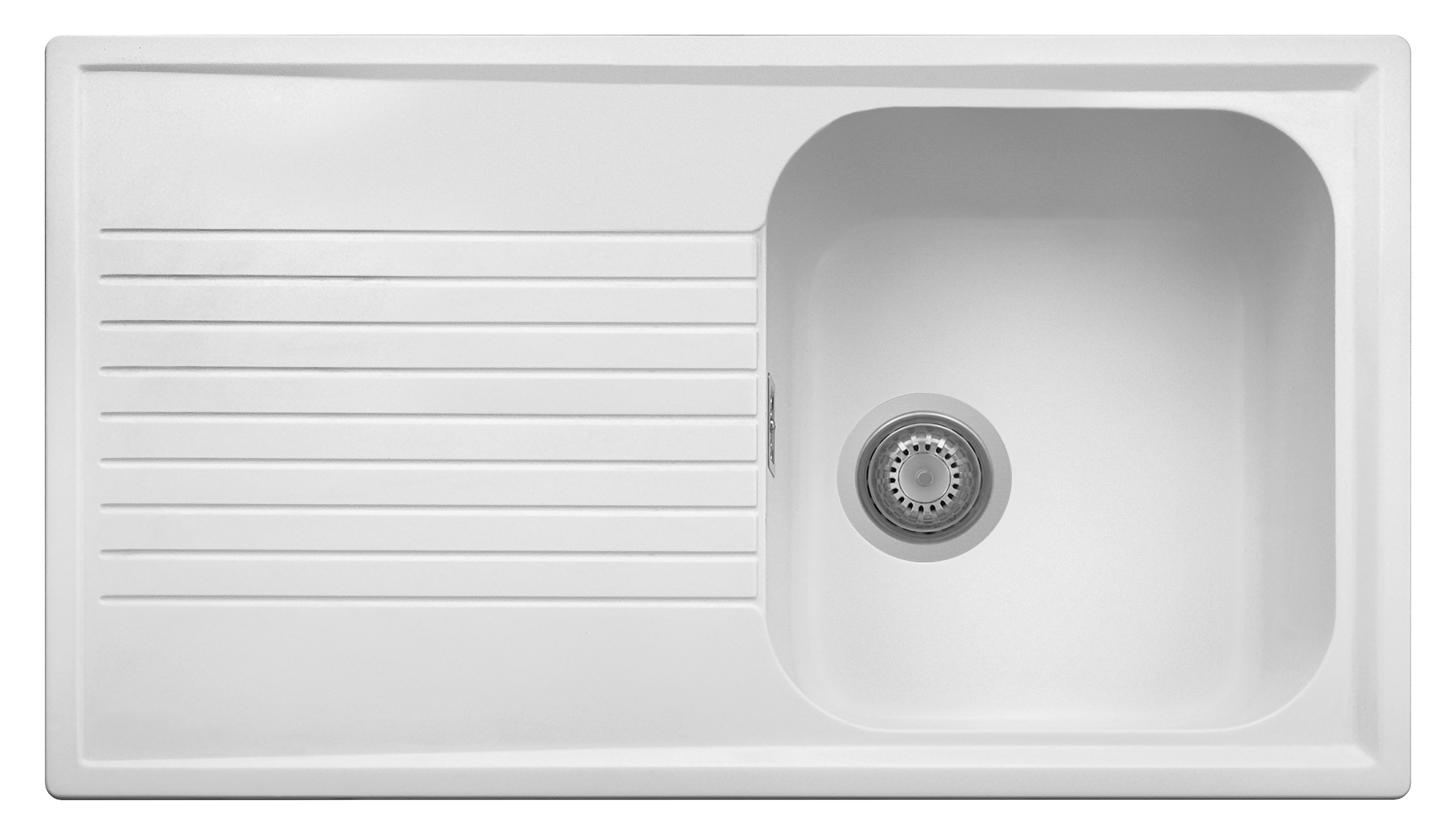 Atlantic White Matte 1 Bowl Sink w/ Draining Board PL0861
