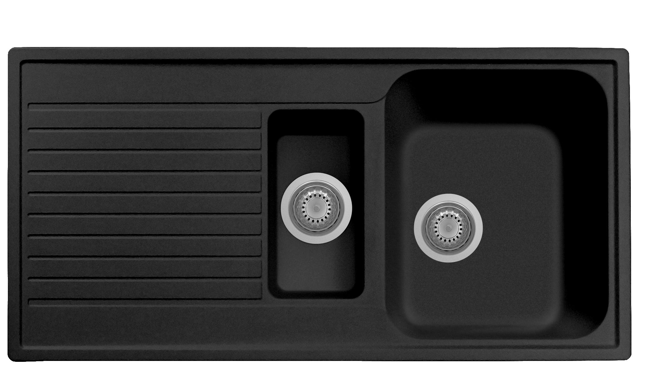 Plus 1.5 Bowl Sink Black Matte w Draining Board PL0991 for Kitche