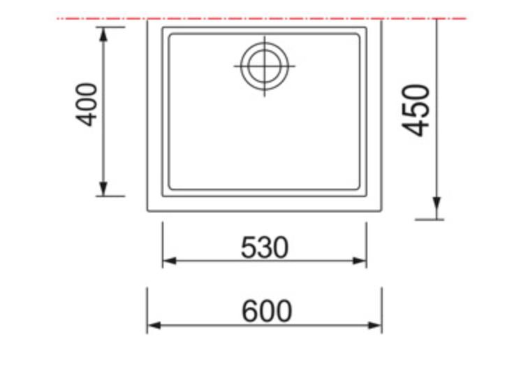 Technical Drawing Italian Sink Single Bowl U/Omount for Kitchen