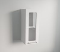 Clear Glass Vertical Single Door Wall Cabinet in White Matte
