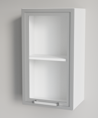 Clear Glass Vertical Single Door Silver Framed Wall Cabinet