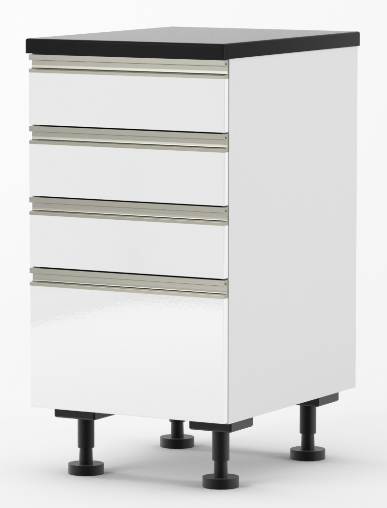 Venice - 450mm wide Four Drawer Base Cabinet - with DTC ...