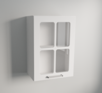 500mm or 600mm Wall Unit with Clear Glass Panels in White Matte