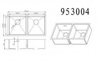 Technical drawing for undermount stainless steel sink 953004