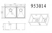 Technical drawing for undermount stainless steel sink 953014