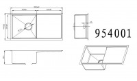 Technical drawing for undermount stainless steel sink 954001