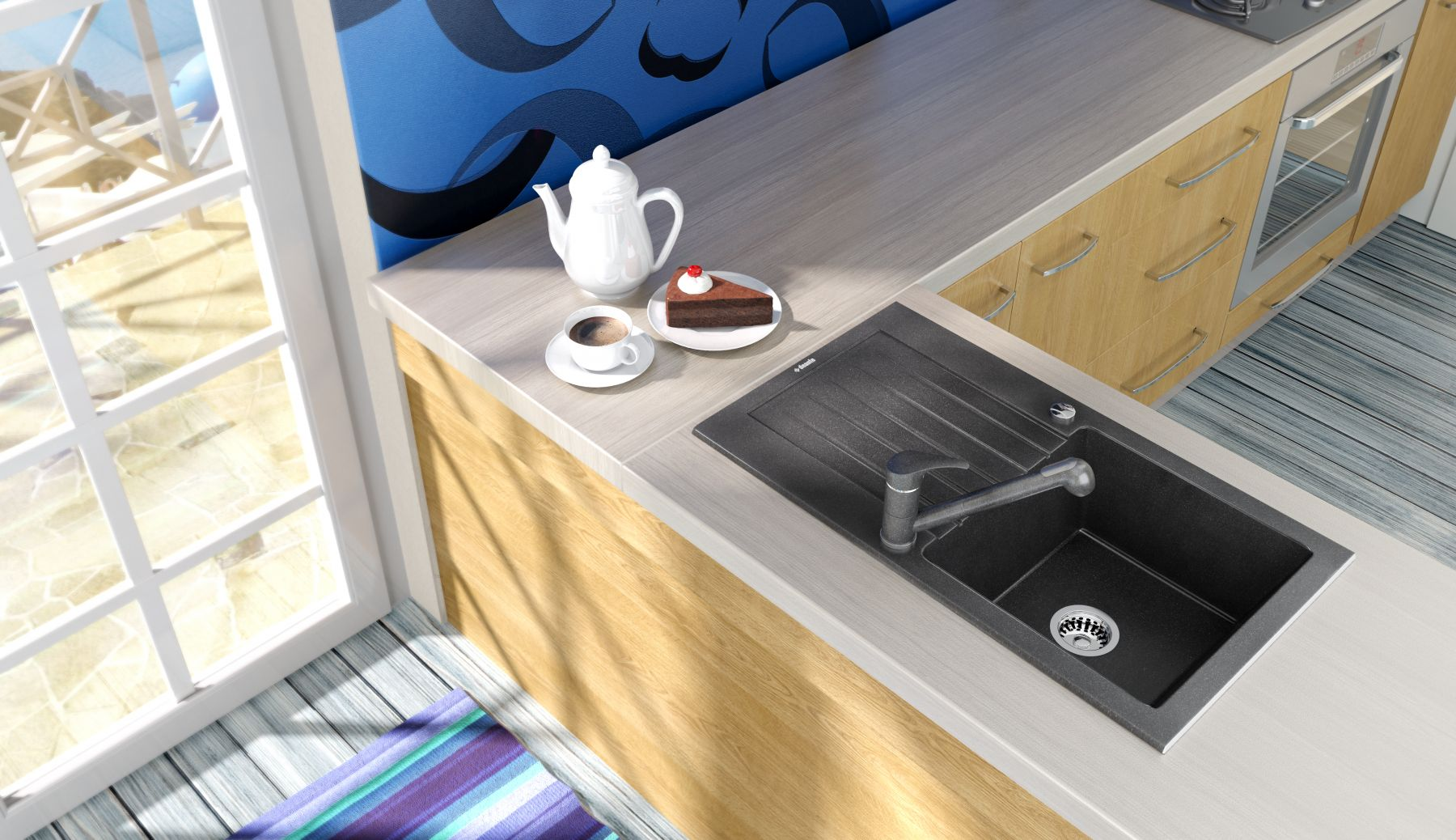 European Made Zorba 1 Bowl Granite Sink w/ Drainer Display Image