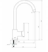 Aster Sink Mixer with U Spout Dimensions Image for Kitchen Plan