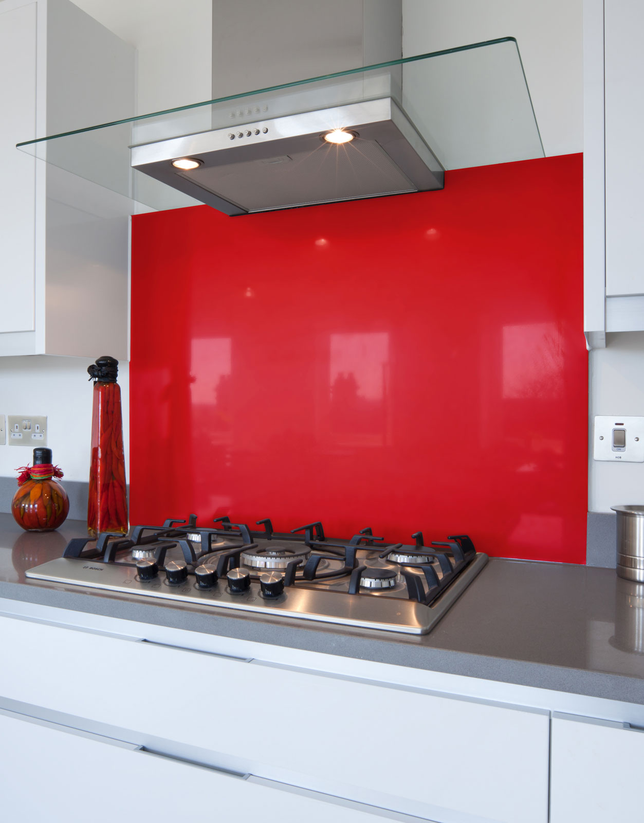Example of Red Glass Splashback for in the kitchen