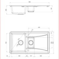 Vivo 1.5-bowl Granite Sink w/ Drainer Dimensions for Kitchen