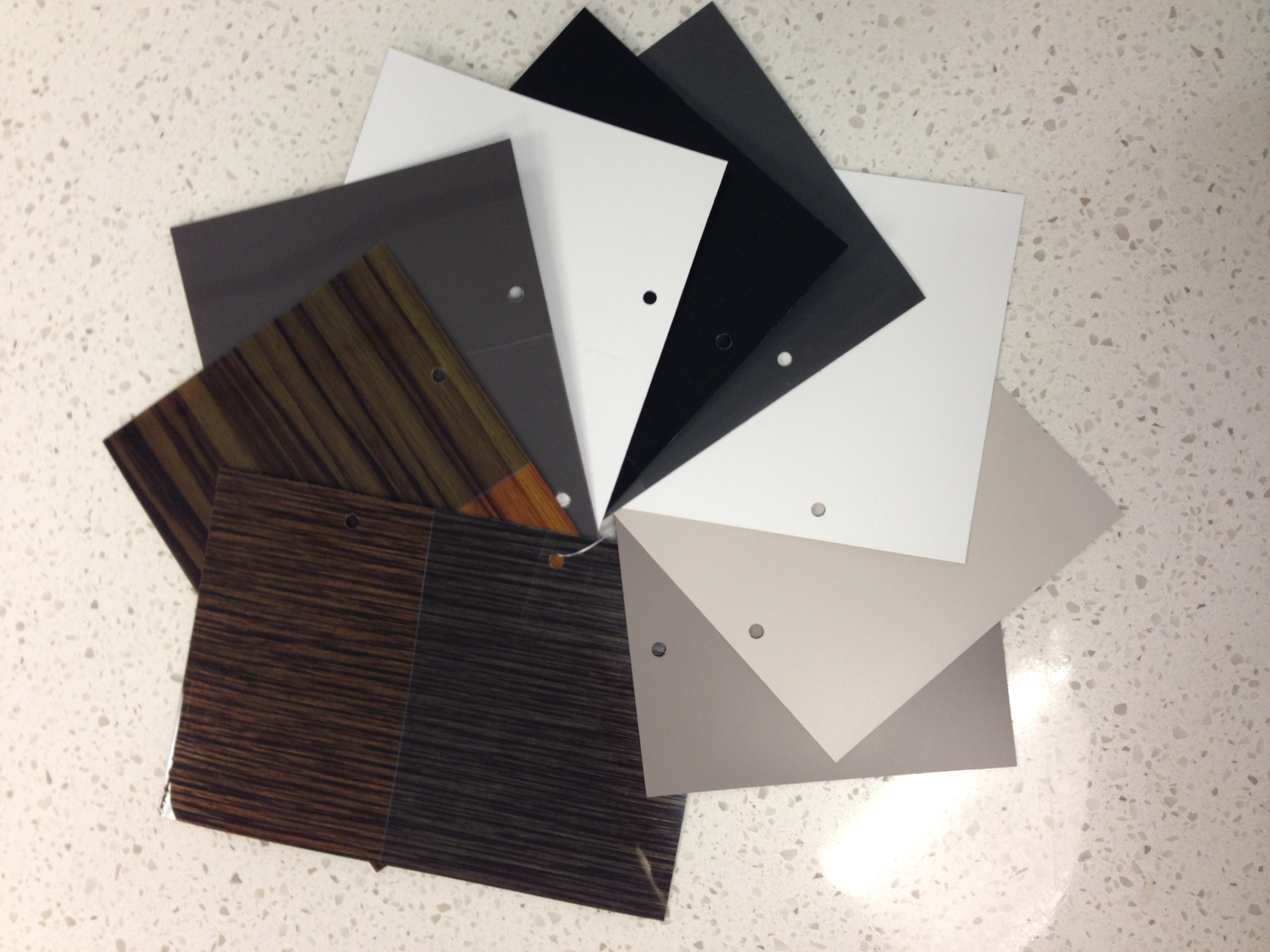 Colour Sample Cards Set - White Background for Kitchen Designing