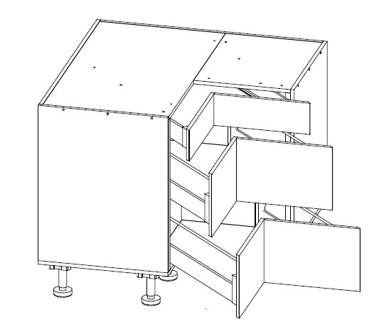 Body Diagram for Corner drawer cabinet S100/100SZ3A for Kitchen