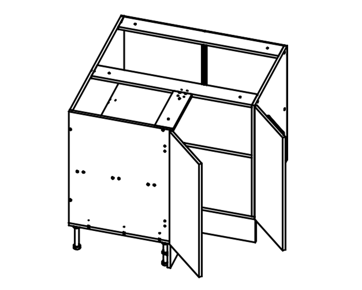 Body Diagram for Corner Cabinet S90/90 for Kitchen