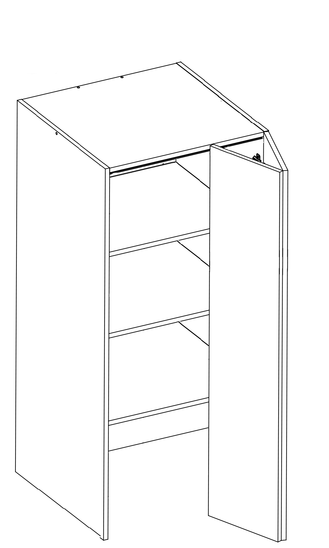 Body Diagram of On-Bench Pantry 580 Deep W60/132/60 for kitchen