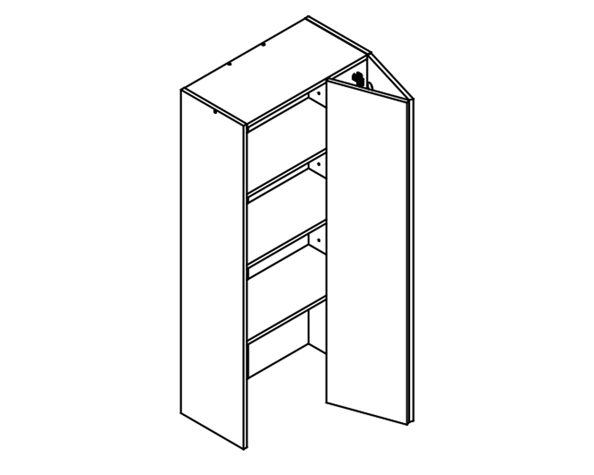 Body Diagram of On-Bench Pantry W60/132/TOP 2 for Kitchen