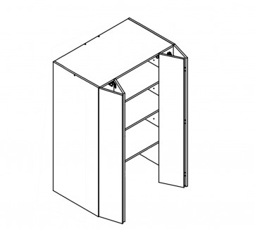 Body Diagram of On- Bench Pantry W90 580 Deep for Kitchen