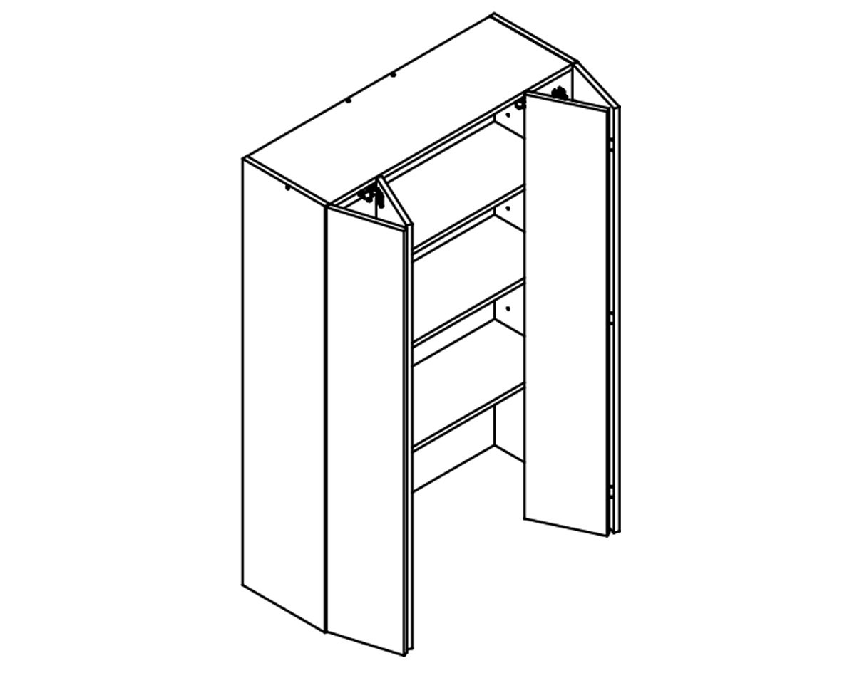 fBody Diagrma of On-Bench Pantry W90/132/TOP for Kitchen