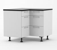 Milan - 1000mm by 1000mm wide Three Drawer Corner Base Cabinet