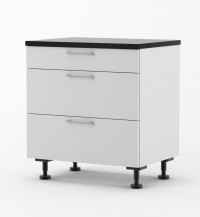 Milan - 800mm wide Three Drawer Base Cabinet - with Blum Runners
