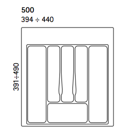 Dimensions Image for Cutlery Tray 500mm Wide for in Drawers
