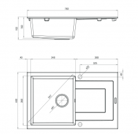 Funk 1-bowl Sink w/o Draining Board Dimensions for Kitchen