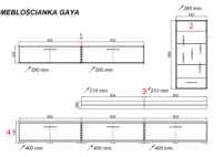 Dimensions Image for Entertainment Unit Set for Living Room- Gaya