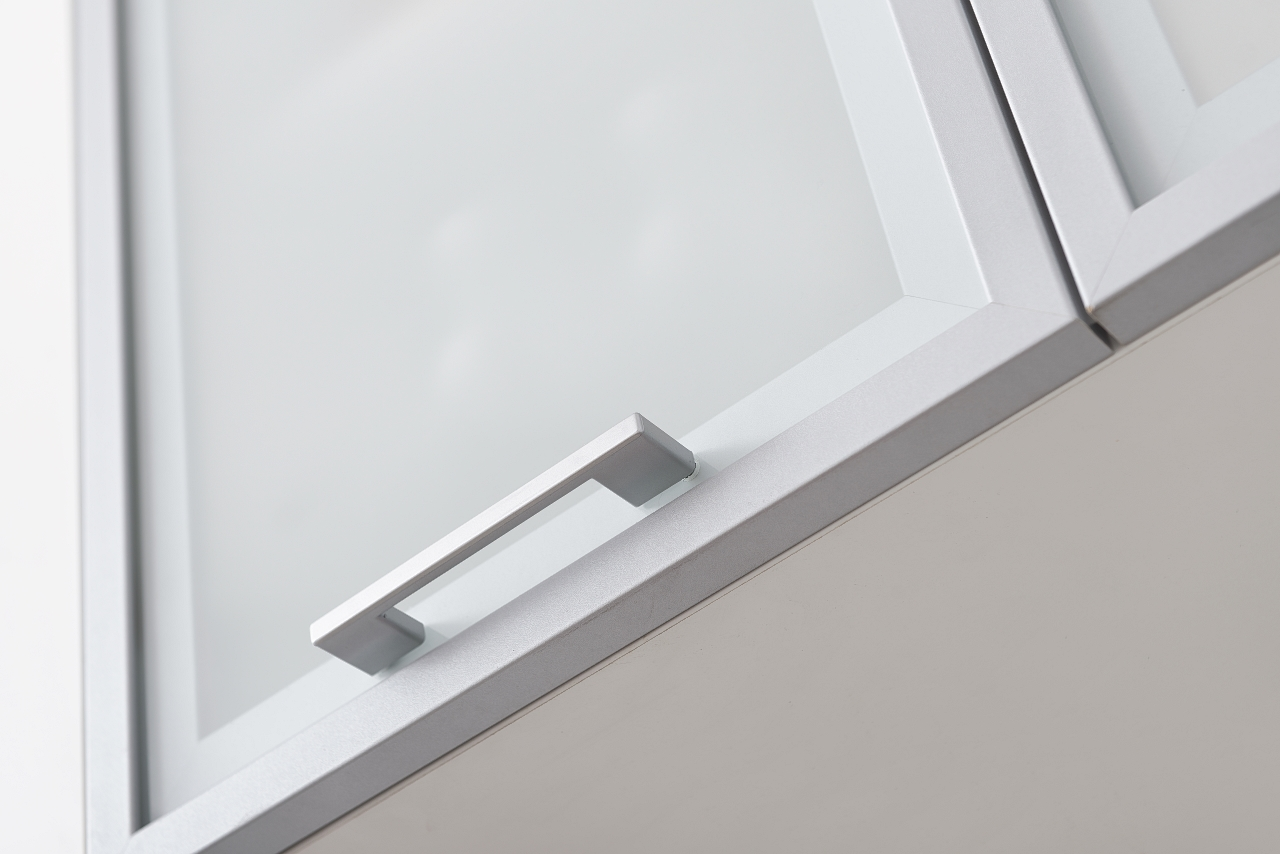 Niki Handle on Silver Wall Cabinet Example 2 for Kitchen