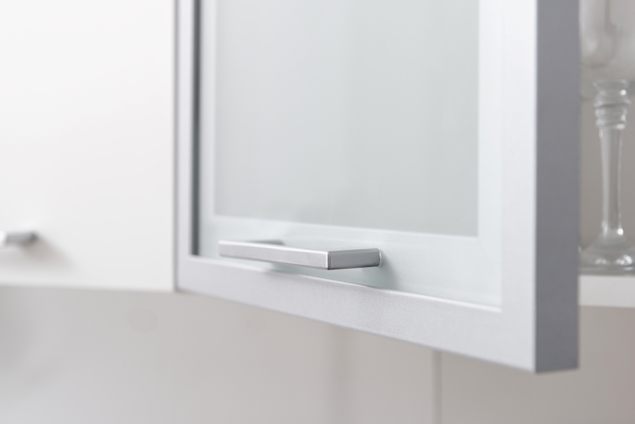 Niki Handle on Silver Wall Cabinet Example for Kitchen