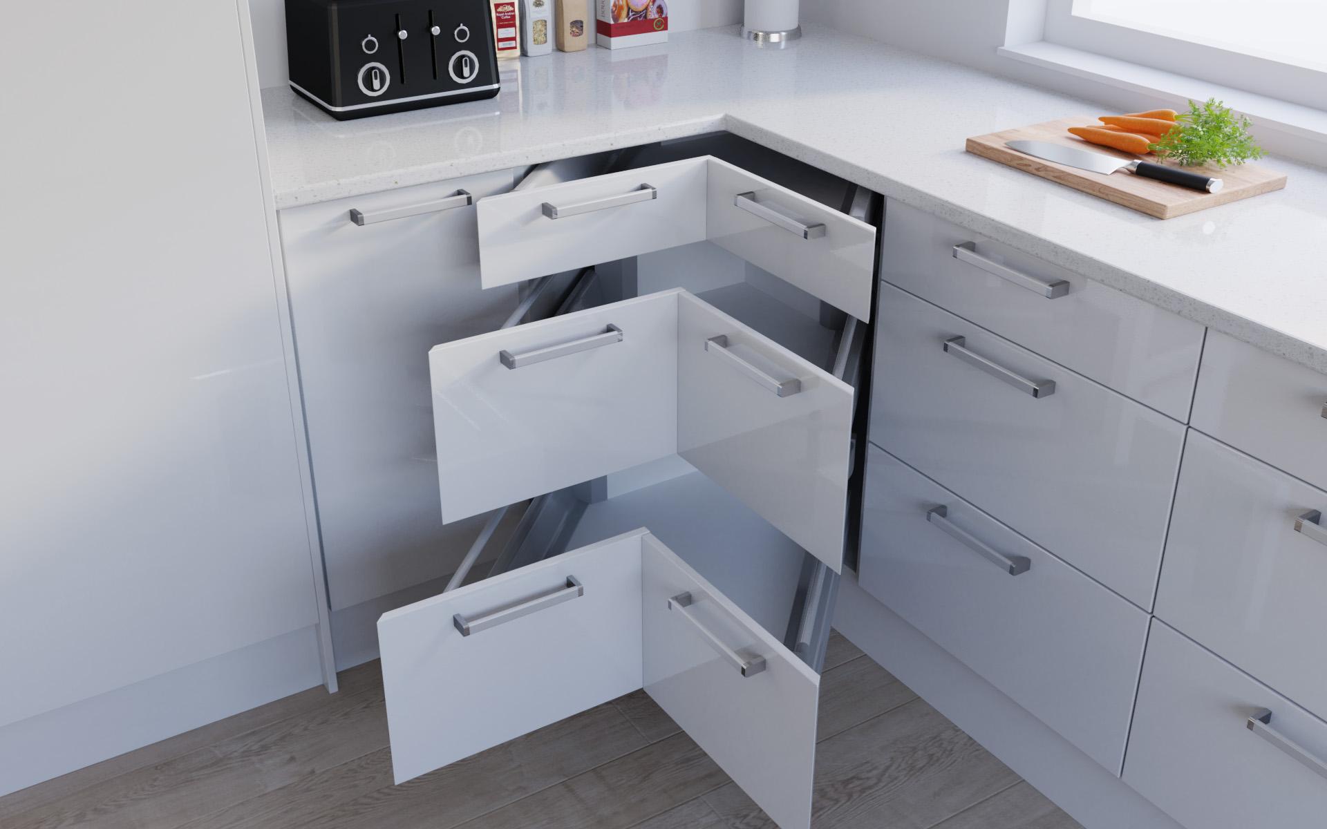 Corner Drawer Example - High Gloss White