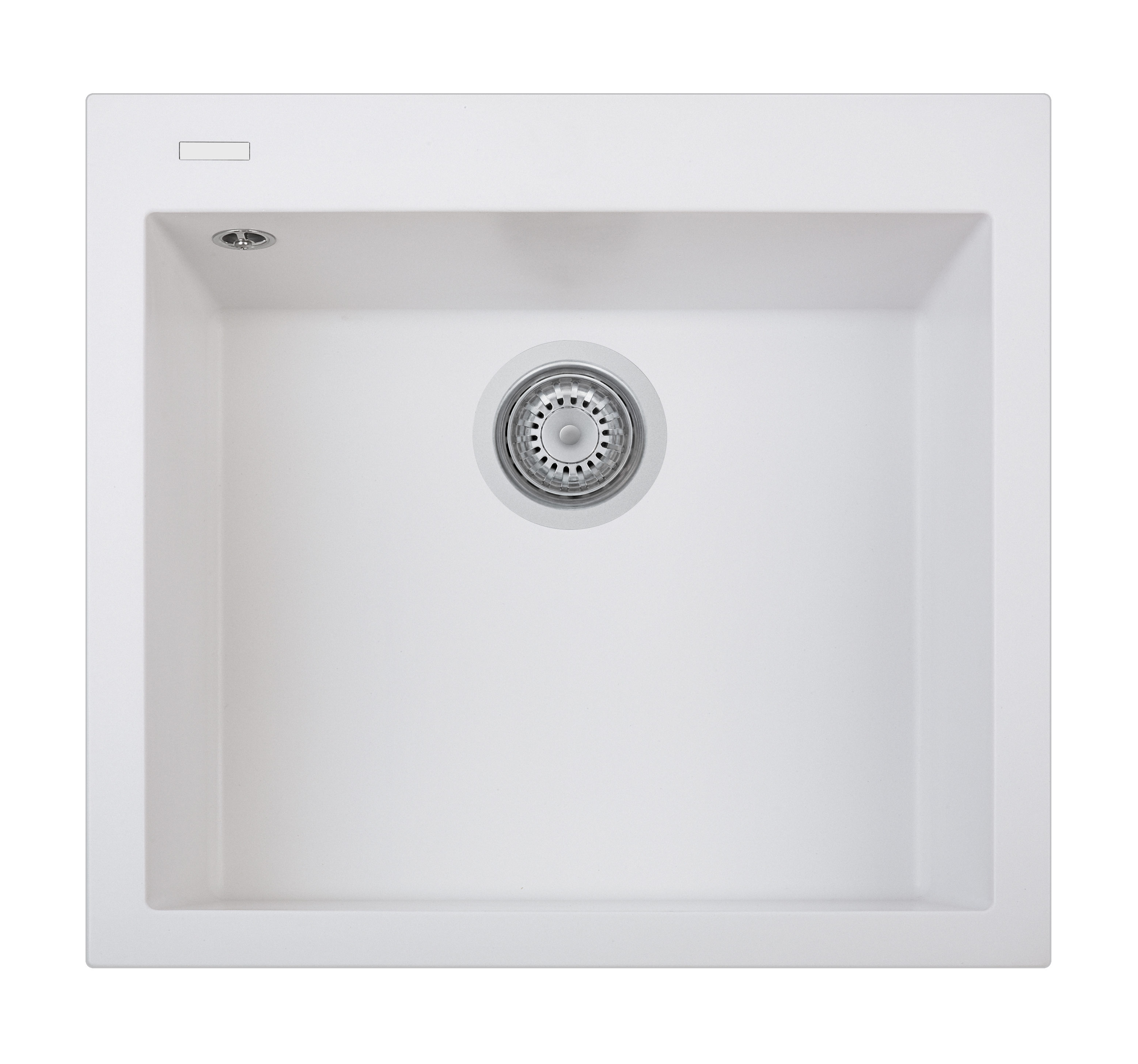 Cube Sink 1 Bowl w/o Drainer White Mount Overmount Sink Small