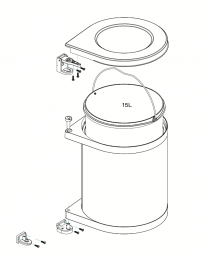Rotary Rubbish Bin Outline/Parts Image for Kitchen Planning