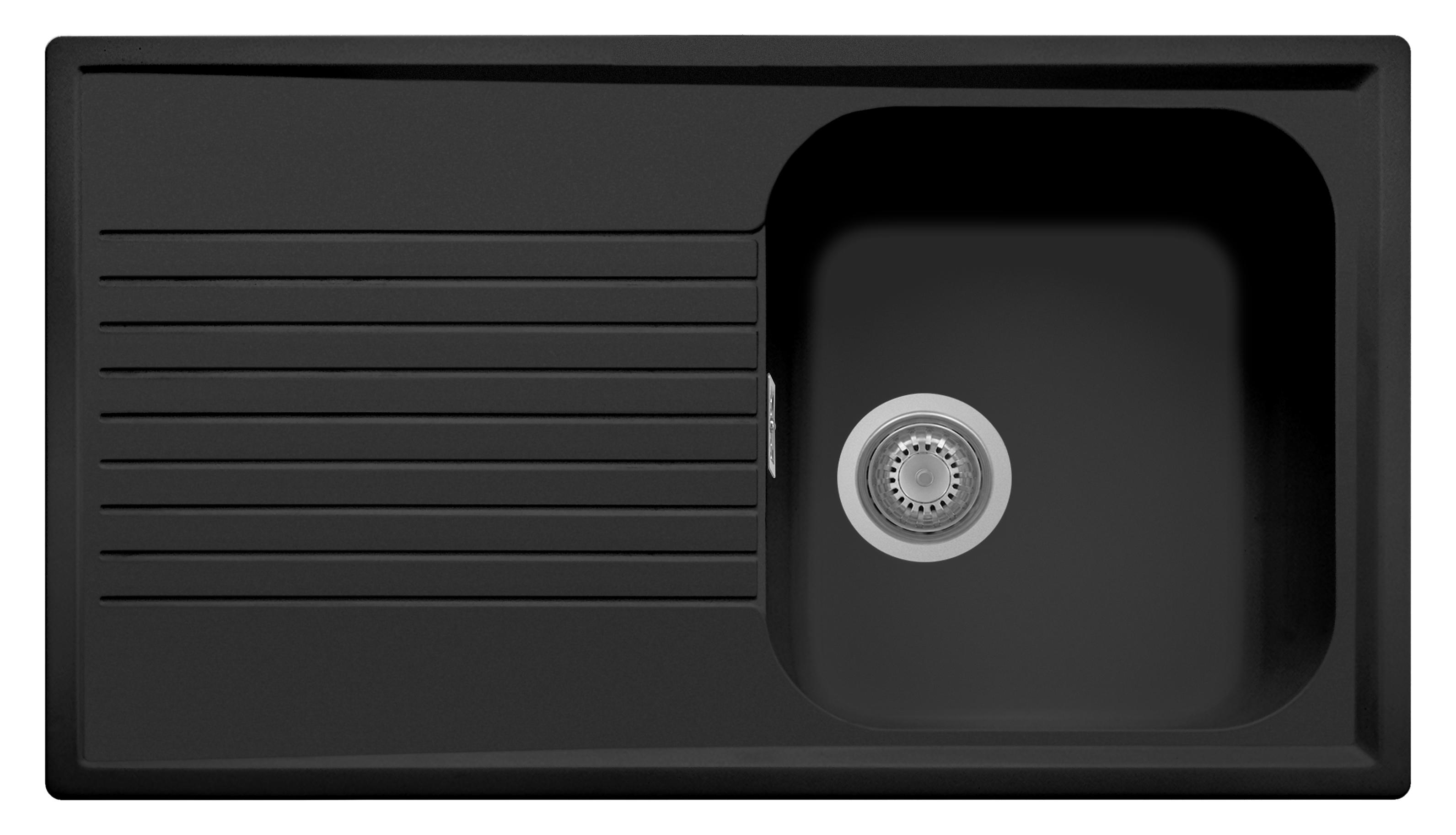 Plus 1 Bowl Black Matte Sink w Draining Board PL0861 for Kitchen