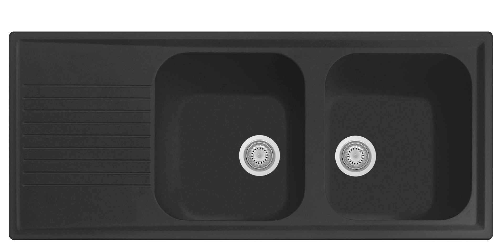 Plus 2 Bowl Sink Black Matte w Draining Board PL1162 for Kitchen