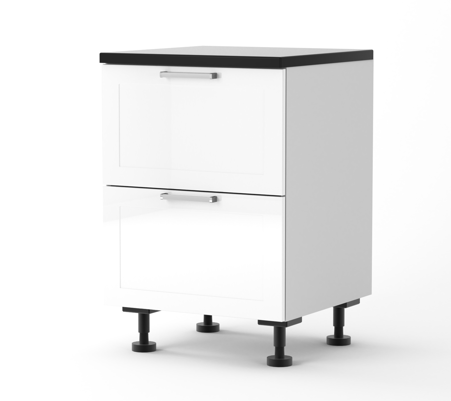 Rhodes - 600mm wide Two Drawer Base Cabinet with Top Hidden Drawe