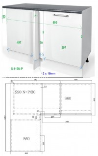 Dimensions for S90N-P30 for Kitchen Installation