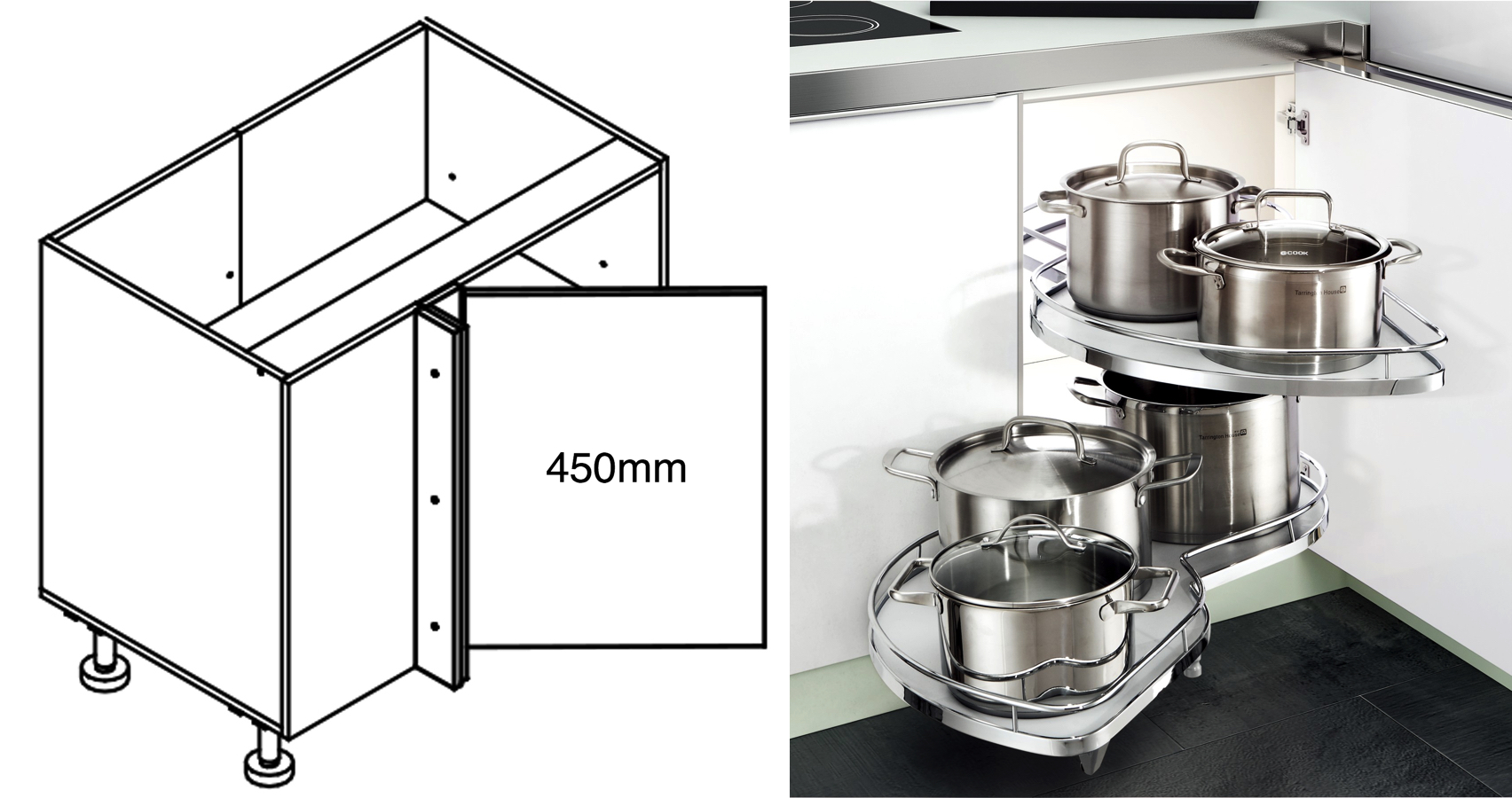 900mm Corner Cabinet with 900 Swing Trays - for Kitchen