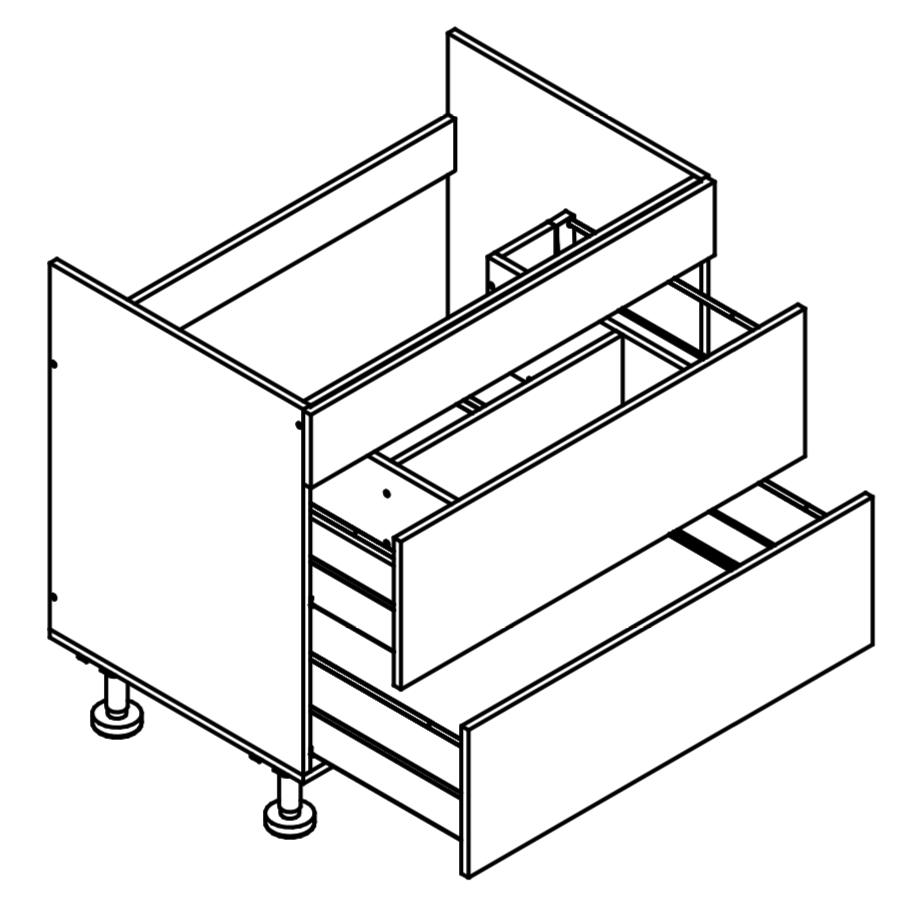900mm Wide Under Sink 2 Drawer Base Cabinet - Euro for Kitchen
