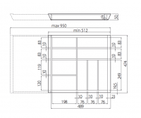 Beechwood Cutlery Insert Dimensions Image for in 600-1000 Drawers